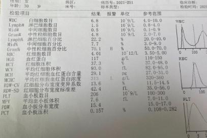 22w孕期血常规求帮忙看看有问题吗?